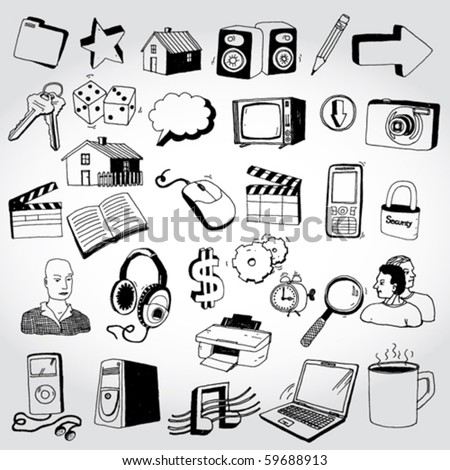 Set of Doddled Icons - stock vector