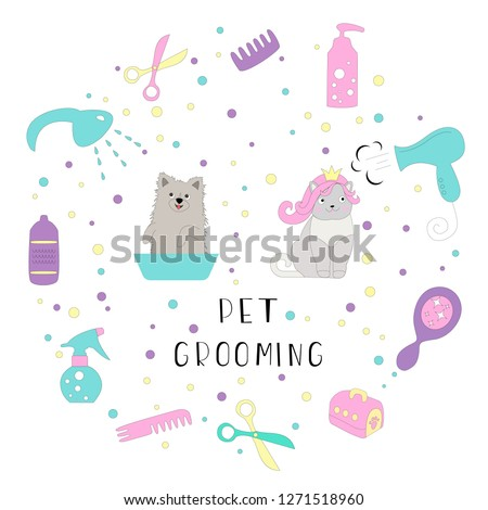 Set of dog and cat grooming elements: comb, shampoo, hand dryer etc. Cartoon vector icons on white background