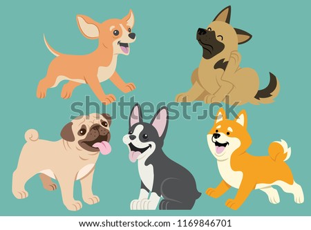 set of dog flat cartoon #1169846701