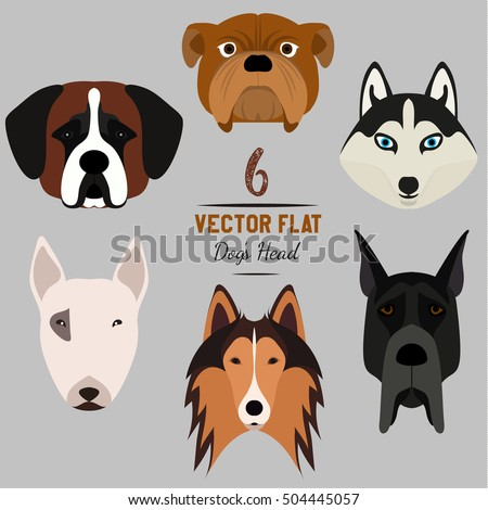 set of 6 dog's head flat