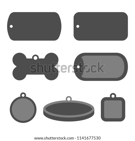 Set of dog tag id badges. Identification labels.