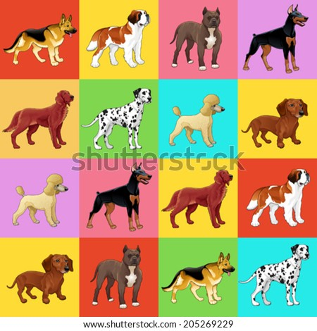 set of dog with background for
