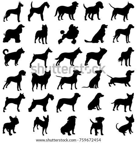 Set of dogs, black silhouettes of dogs
