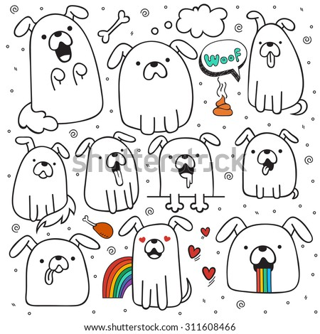 set of 10 dogs doodle handmade