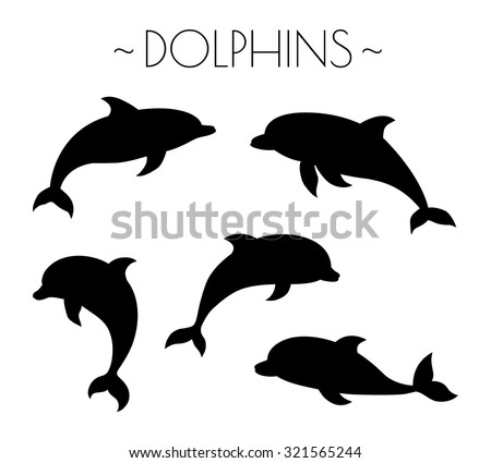 set of dolphin silhouettes