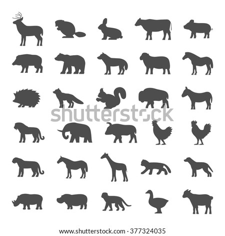 Set of domestic and wild animals on white background. Dog, cat, cow, pig, bear, elephant and other.