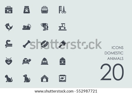 Set of domestic animals icons