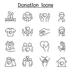 Set of Donation & charity line icons. contains such Icons as, volunteer, fundraiser, kindness, giving, assistance, support, care and more.