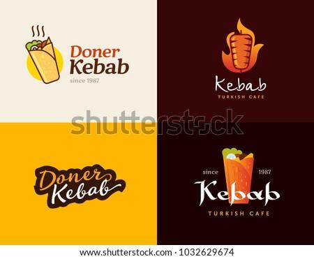 set of doner kebab logo...
