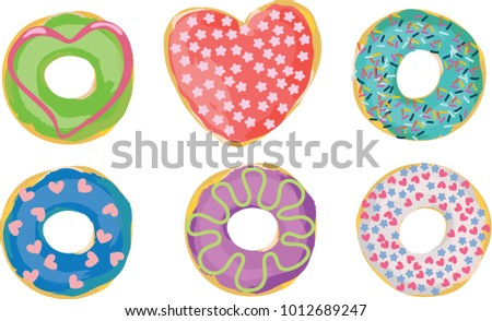 Set of donuts decorated with hearts for Saint Valentine's Day