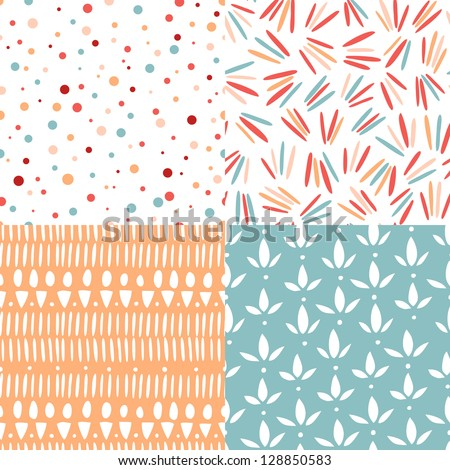 Set of 4 doodle abstract seamless patterns