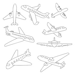 Set of doodle airplanes. Hand draw icons