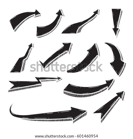 Set of doodle arrow vector illustration #601460954