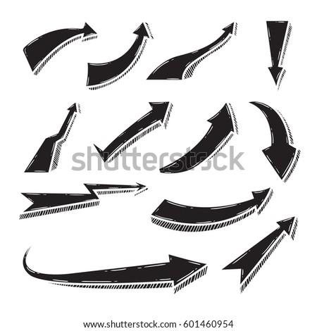 Set of doodle arrow vector illustration #601460954