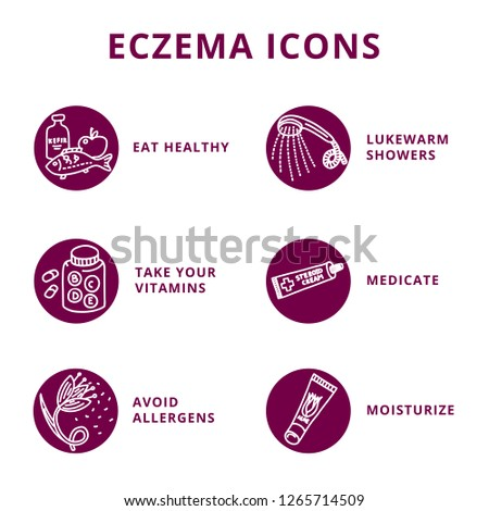 Set of doodle atopic dermatitis icons. Allergen flower, lukewarm shower, vitamins, medication, soothing moisturizing cream, healthy food. Monochrome on white background.