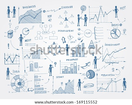 Set of doodle business management infographics elements isolated vector illustration