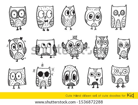 Set of doodle cartoon owls with various emotions,Various Cute Owl Doodle Collection,hand drawn