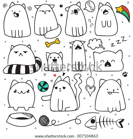 set of 11 doodle cats with