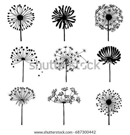 set of doodle dandelions