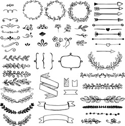 Set of doodle design elements. Arrows, wreath, floral elements