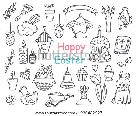 Set of Doodle Easter Elements.  Line and Outline Spring Collection in Sketch style.Hand drawn Religion Christian Objects. Vector illustration for design, graphic, web.  stock photo