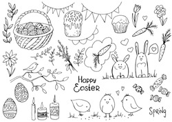 Set of doodle easter elemetns isolated on white. Basket with colored eggs, rabbit, carrots, tulips, glazed cake, candle, chick. Vector illustration. Perfect for coloring book, greeting card, print.