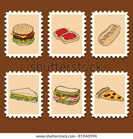 set of doodle fast food on the stamps