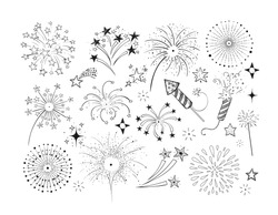 Set of doodle firework and fireckrackers on white background