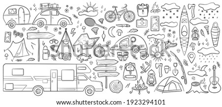 Set of doodle forest camping design elements. Hand drawn hiking and camping doodles perfect for summer camp flyers and posters