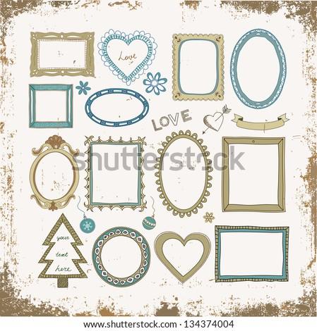 Set of doodle frames and other elements on a vintage grunge background