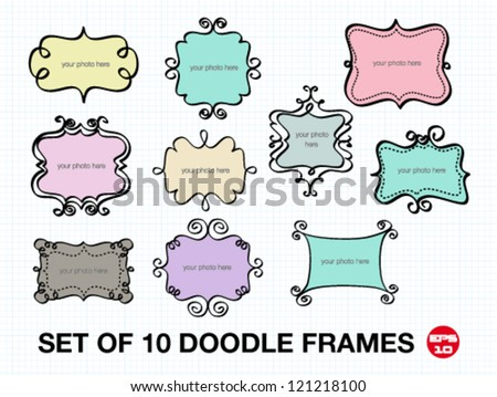Set of 10 doodle frames. free hand vector illustration.