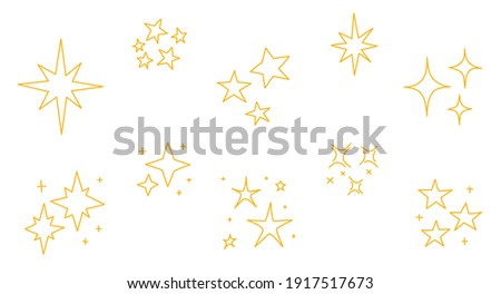 Set of doodle hand drawn stars. Vector line icon set with simple stars.