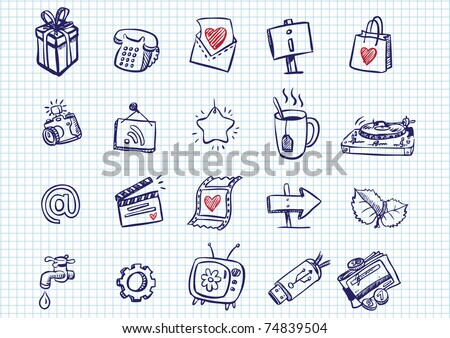 set of doodle icons - stock vector