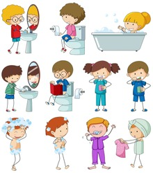 Set of doodle kid with daily routine illustration