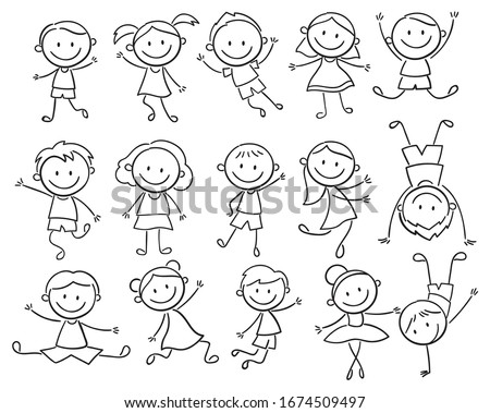 Set of doodle kids figures. Collection of happy cartoon kids illustration. Vector illustration of cute stick figures of boys and girls. Hand-drawn. Stockfoto ©