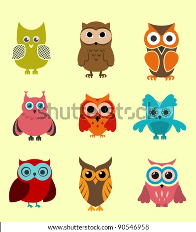 Set of doodle owls for funny decoration. Jpeg version also available in gallery