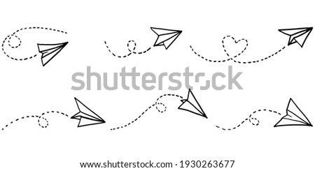 Set of doodle paper plane icon. Hand drawn Paper airplane. vector illustration.