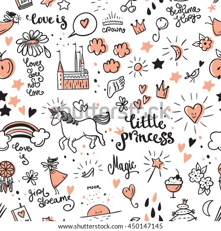 Set of doodle princess and fantasy icon and and design element for invitation and greeting card.  Seamless pattern