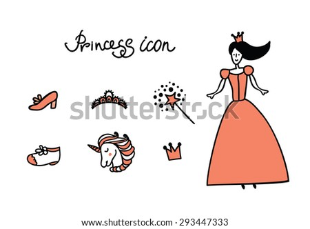 Set of doodle princess and fantasy icon for invitation and greeting card