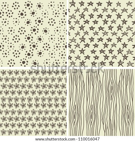 set of 4 doodle seamless patterns in 2 retro colours
