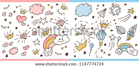 Set of doodle sketch pattern. Vector background for little prince and princess. Cute girlish and boyish crown hand drawn illustration. Trendy baby fabric, kid wallpaper. Space magic, stars and dream
