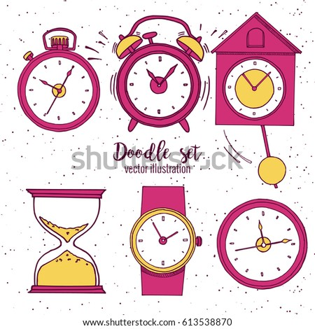set of doodle sketch watches