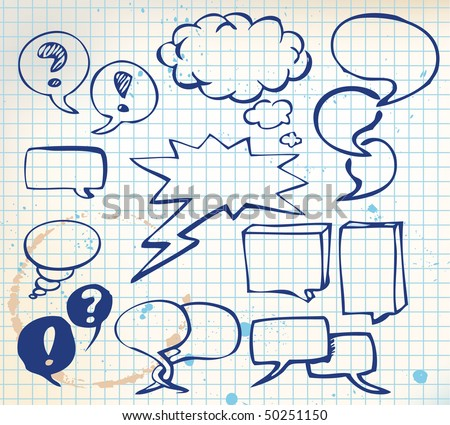 Set of doodle speech bubbles on chequered paper