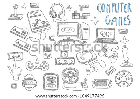 set of doodle vector icons
