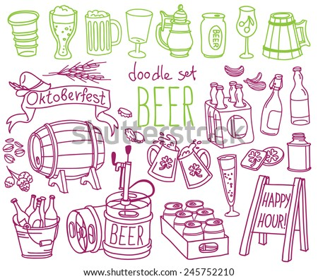 Set of doodles hand drawn rough simple beer and brewery theme sketches various kinds of beer Vector isolated on white background for cafe menu fliers chalkboard