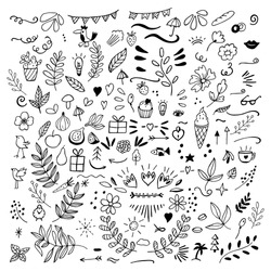 Set of doodles of floral, fruits, arrows, flowers, birds, things for home, eat. Vector illustration