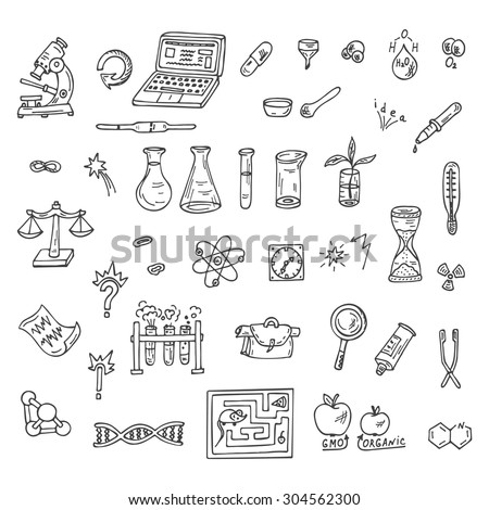 set of doodles science icons
