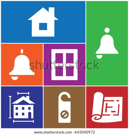 set of 7 door filled icons such