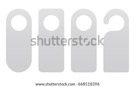 Set of door hangers isolated on white background. Door hanger mockup. Vector illustration