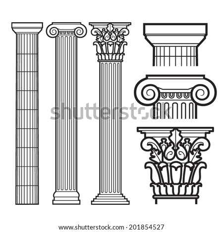 Set of Doric, Ionic and Corinthian Columns